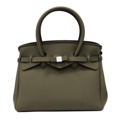 SAVE MY BAG 義大利品牌 MISS PLUS升級版 卡其綠超輕量拉鍊手提托特包