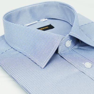 金‧安德森 深藍色條紋窄版短袖襯衫fast