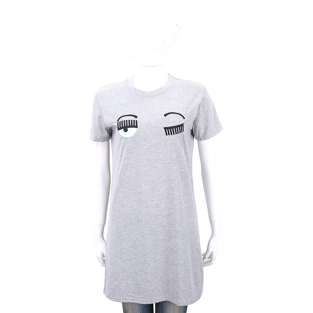 Chiara Ferragni Flirting 刺繡眨眼灰色長版T恤/連身裙