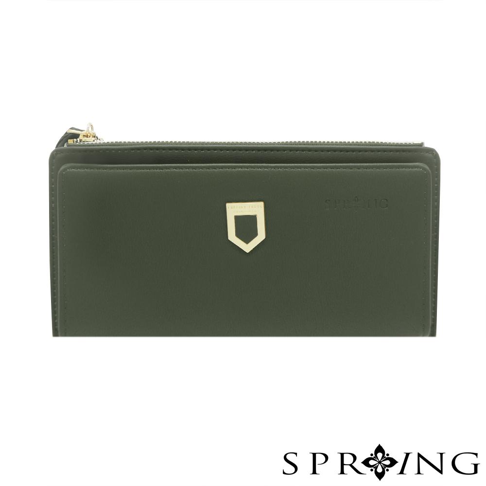 SPRING-優雅盾牌流蘇長夾-森林綠