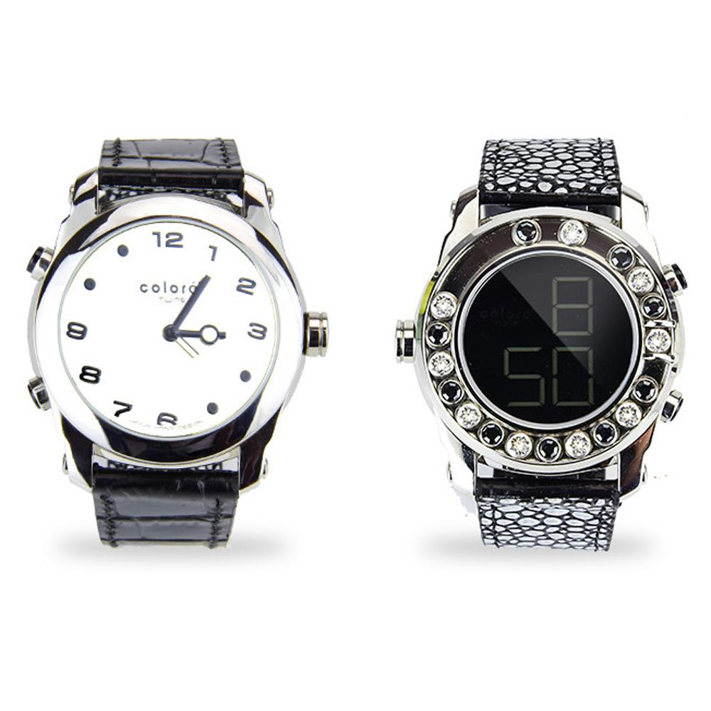 colore TWINS錶現心情錶出個性錶現時尚真皮水晶數位指針錶M04