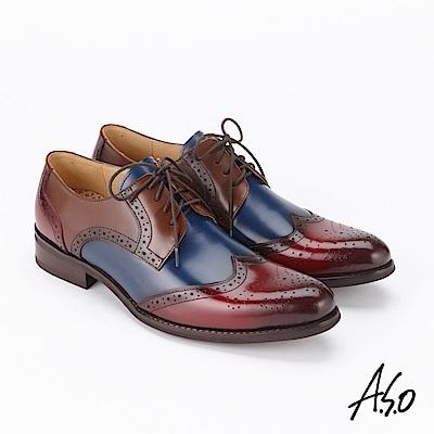 A.S.O  3D超動能 綁帶蠟感牛皮奈米紳士鞋酒紅