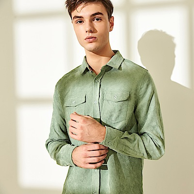 CACO-燈芯絨口袋襯衫-情侶款(三色)-男【QAR091】