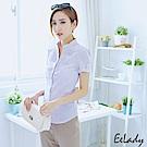 EELADY-開襟立領U壓摺條紋短袖襯衫(紫色)