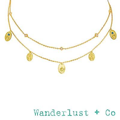 Wanderlust+Co 澳洲品牌 玫瑰花蜜蜂X太陽月亮 鑲鑽雙層金項鍊 REVERIE