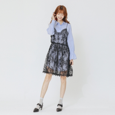 H:CONNECT 韓國品牌 女裝 - 細肩蕾絲兩件式襯衫洋裝-藍(快)