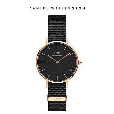 DW 手錶 官方旗艦店 32mm玫瑰金框 Classic Petite 寂靜黑織紋錶