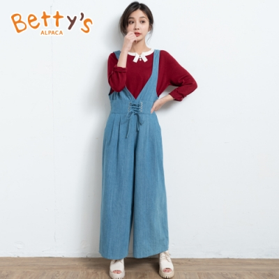 betty's貝蒂思 鬆緊腰圍連身牛仔褲(淺藍)