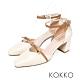 KOKKO 韓系女神方頭羊皮繫帶粗跟鞋裸奶茶 product thumbnail 1