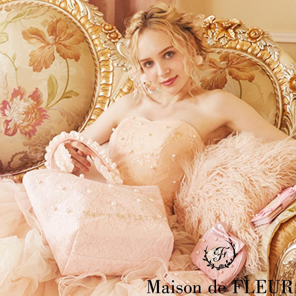 Maison de FLEUR 蕾絲珍珠荷葉邊手提/肩背包