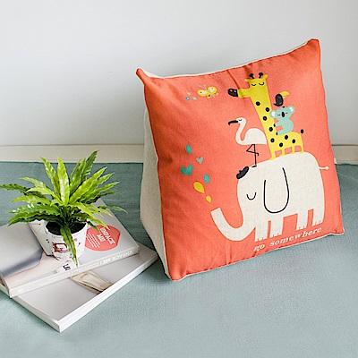 【收納職人】Zakka日系雜貨風棉麻織紋舒壓三角抱枕/靠枕/腿枕(橙色動物園)