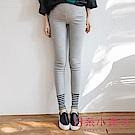 日系小媽咪孕婦裝-韓製孕婦褲~褲管拼接條紋造型厚棉內搭褲 (共三色)