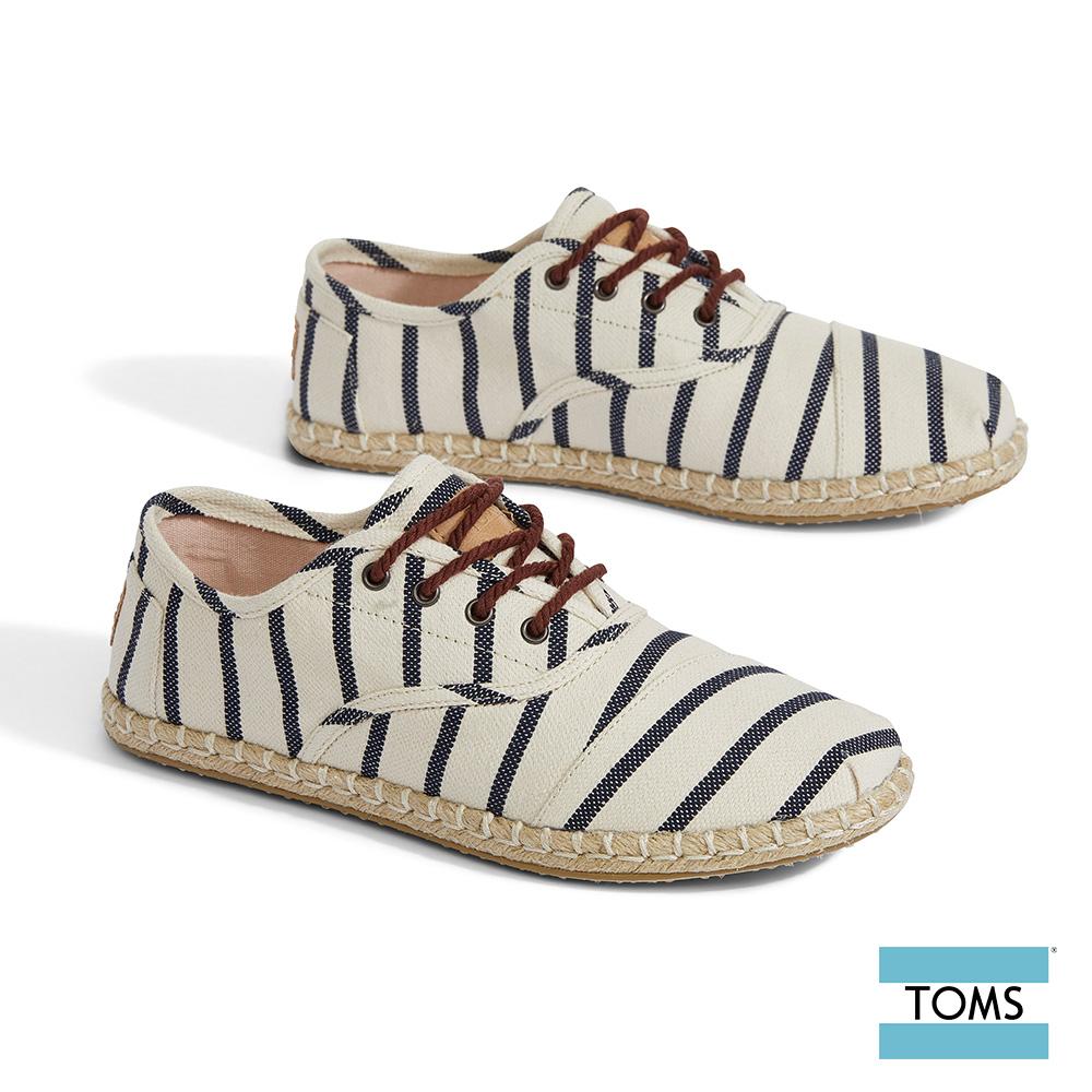 TOMS 繽紛VENICE條紋藤編帆布休閒鞋-女款