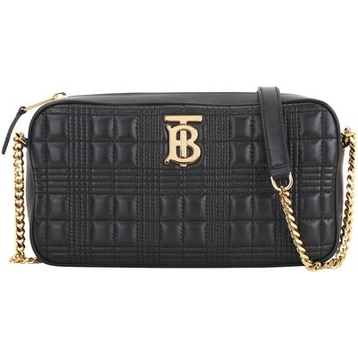 [專櫃價36900 領券折只要$2XXXX] BURBERRY TB 格紋絎縫黑色羔羊皮斜背包