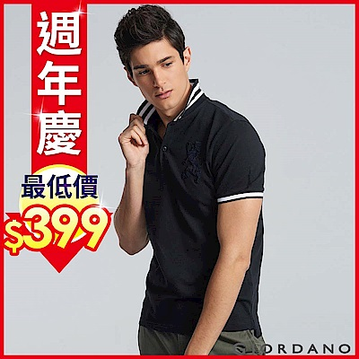 GIORDANO 男裝勝利獅王3D刺繡彈力萊卡POLO衫 -24 標誌黑