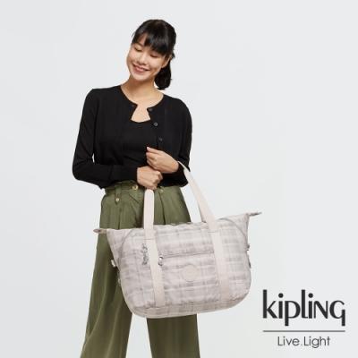Kipling 溫柔奶油格紋手提側背包-ART M