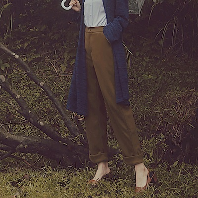 純色毛呢褲腳反褶直筒褲-OB大尺碼