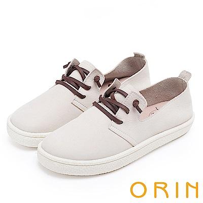 ORIN 雲朵般的舒適輕柔 牛皮免綁鞋帶休閒鞋-白色