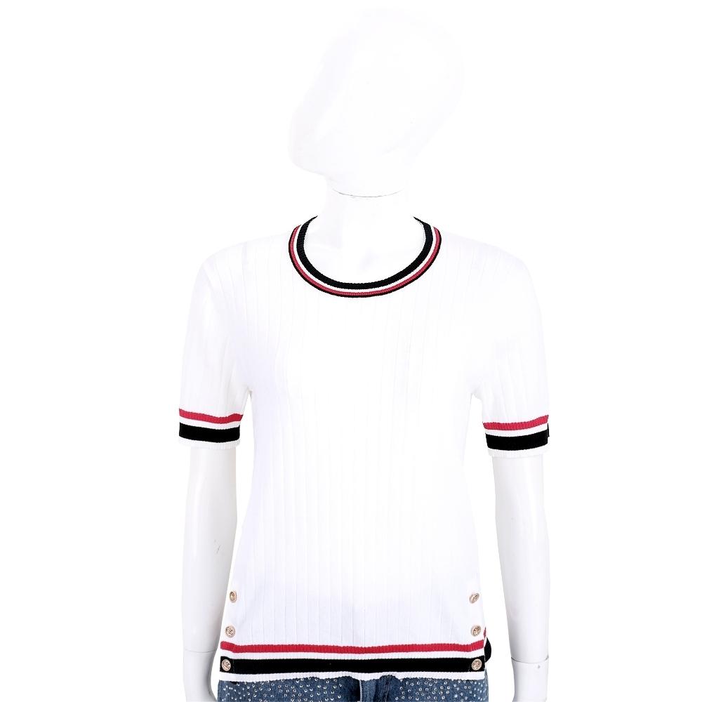 EDWARD ACHOUR PARIS 撞色邊設計白色坑條針織衫