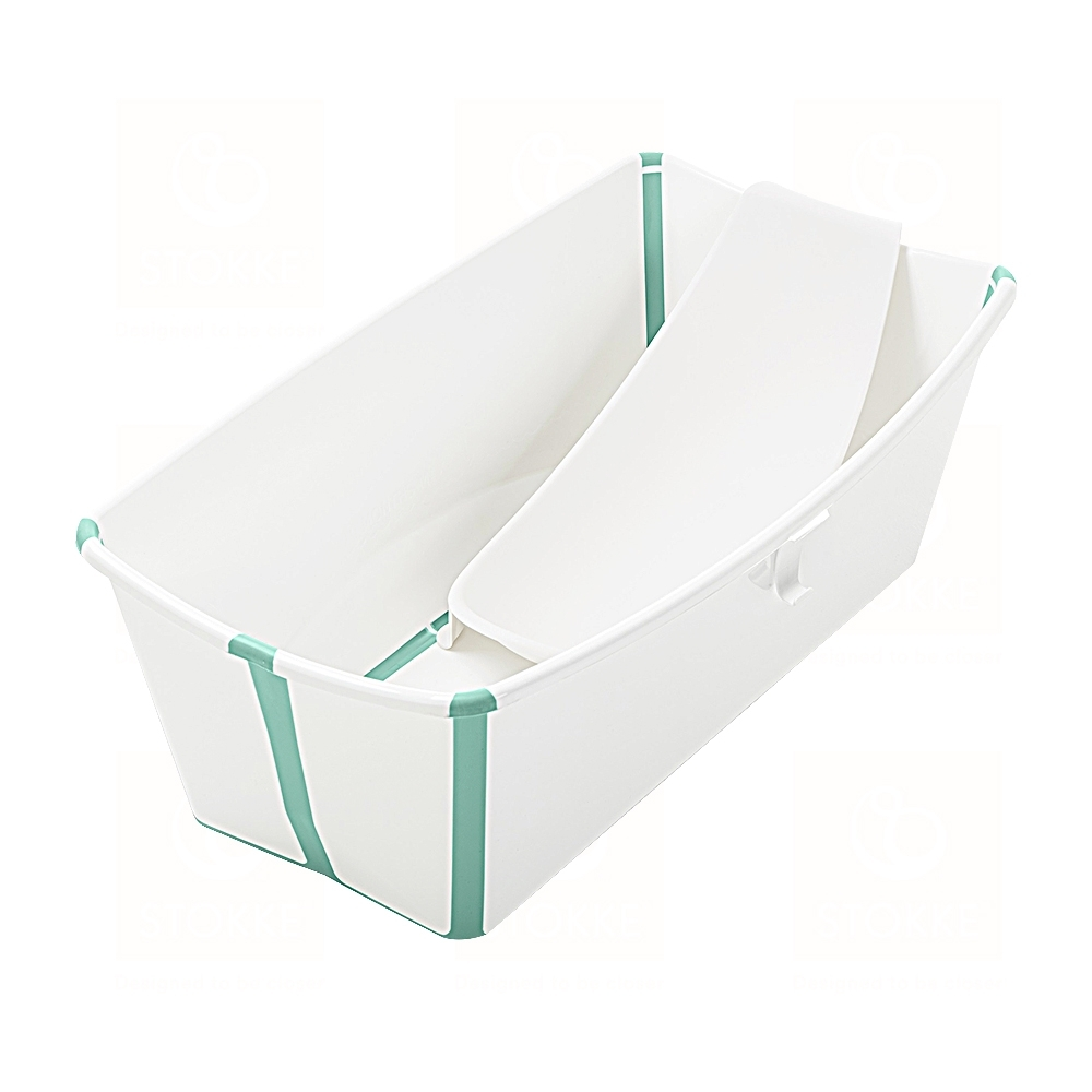 Stokke FlexI Bath 折疊式浴盆套裝-感溫水塞(浴盆+浴架)-白色(湖水綠包邊)