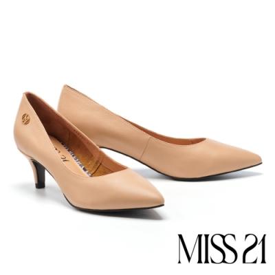高跟鞋 MISS 21 極簡時尚真皮尖頭高跟鞋-粉膚