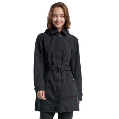 【WILDLAND荒野】女長版防水防風時尚外套黑色