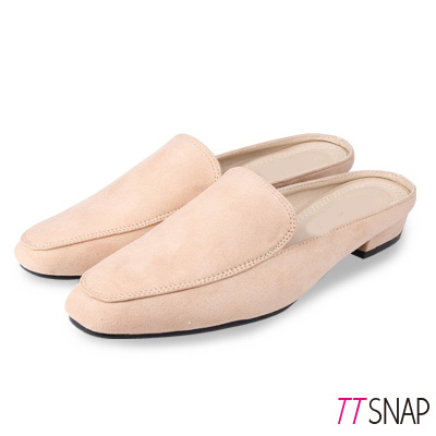 TTSNAP穆勒鞋-簡約線條半拖拉長修飾方頭鞋 杏