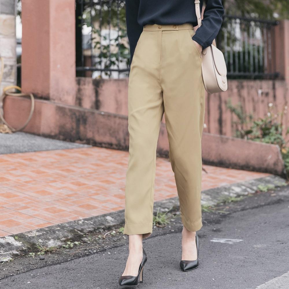 排釦腰頭純色合身直筒褲-OB大尺碼