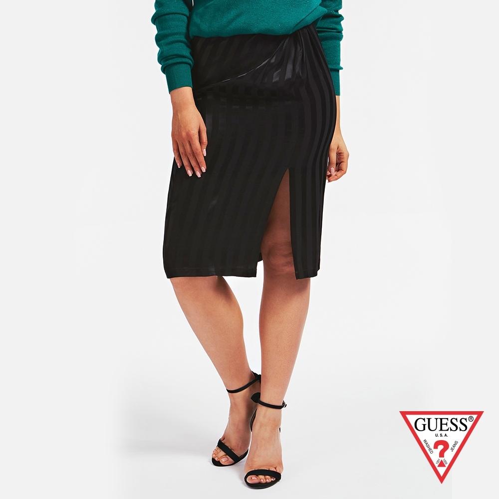 GUESS-女裝-扭結直條紋半身裙-黑 原價2290