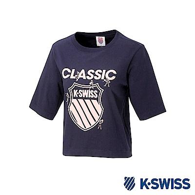K-SWISS Origine SS T-Shirt印花短袖T恤-女-藍