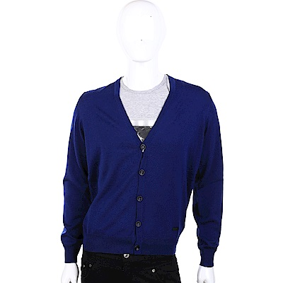 ARMANI COLLEZIONI 純羊毛V領藍色開襟針織衫