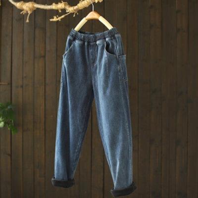 做舊鬆緊腰加絨牛仔褲寬鬆哈倫長褲-設計所在