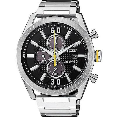 CITIZEN 星辰 光動能渦輪時尚計時手錶-黑x銀/43mm(CA0666-82E)
