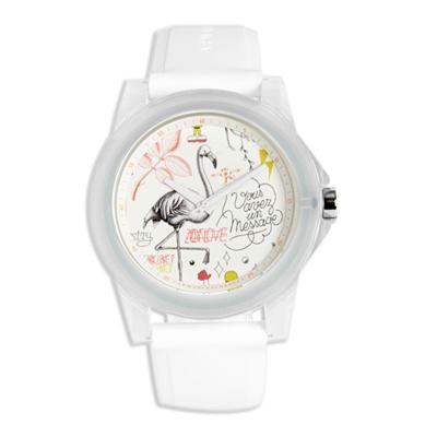 AX STREET ART系列ALEX LEHOURS甜美童趣天鵝設計手錶-白