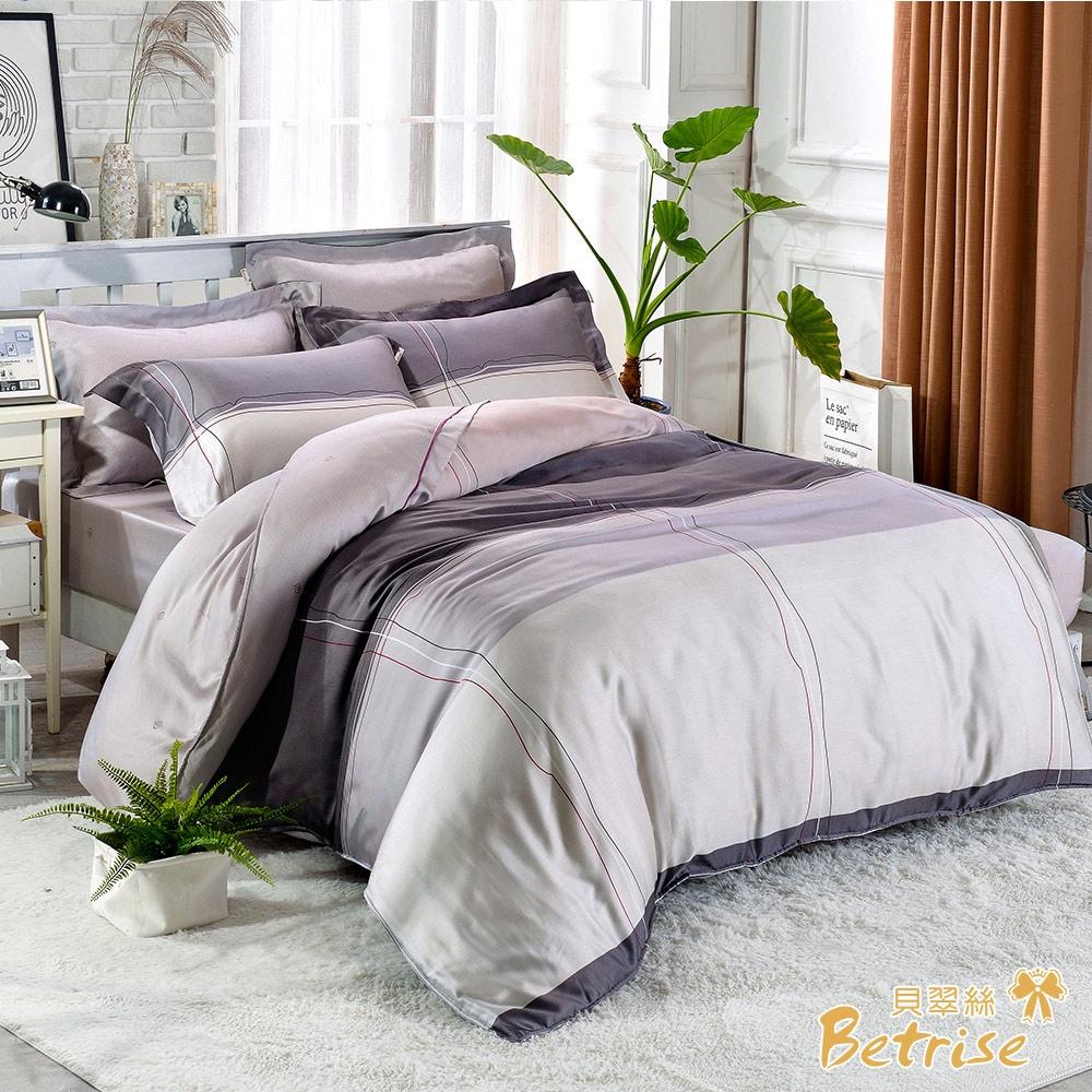 (贈植物精油防蚊扣)Betrise100%奧地利天絲鋪棉兩用被床包組-單/雙/大均價 (往事)