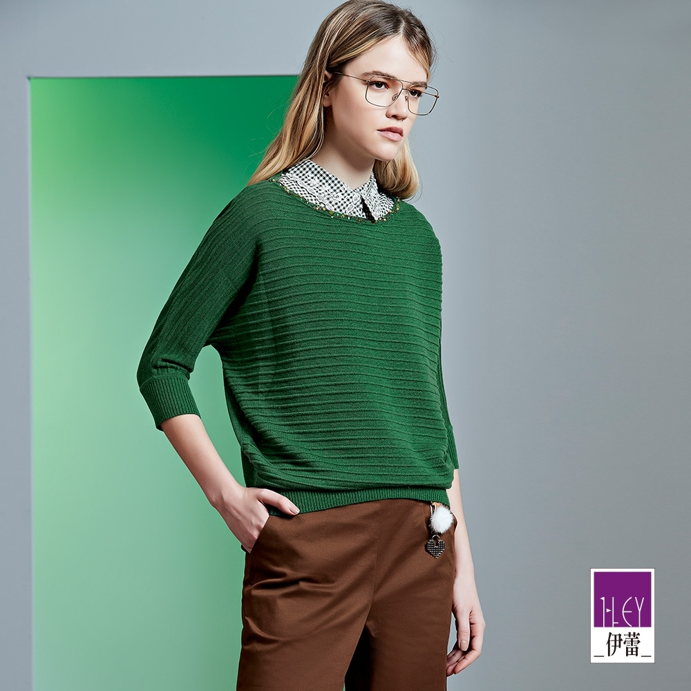 ILEY伊蕾 都會風立體緹織連袖針織上衣(綠)