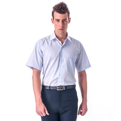 【金安德森】藍黃條紋白領短袖襯衫