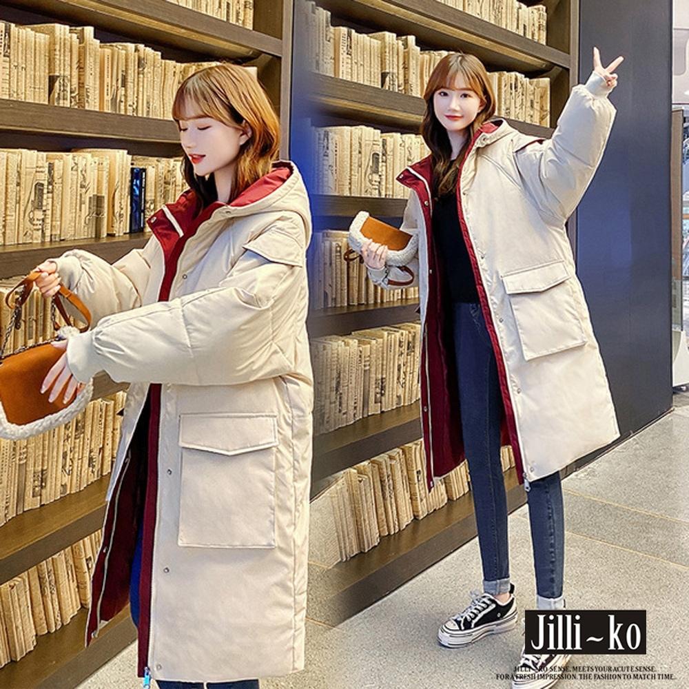 JILLI-KO 長款加厚羽絨棉外套- 白色