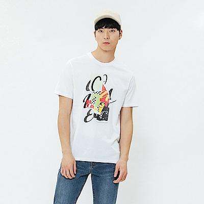 H:CONNECT 韓國品牌 男裝-彩色圖印圓領上衣-白