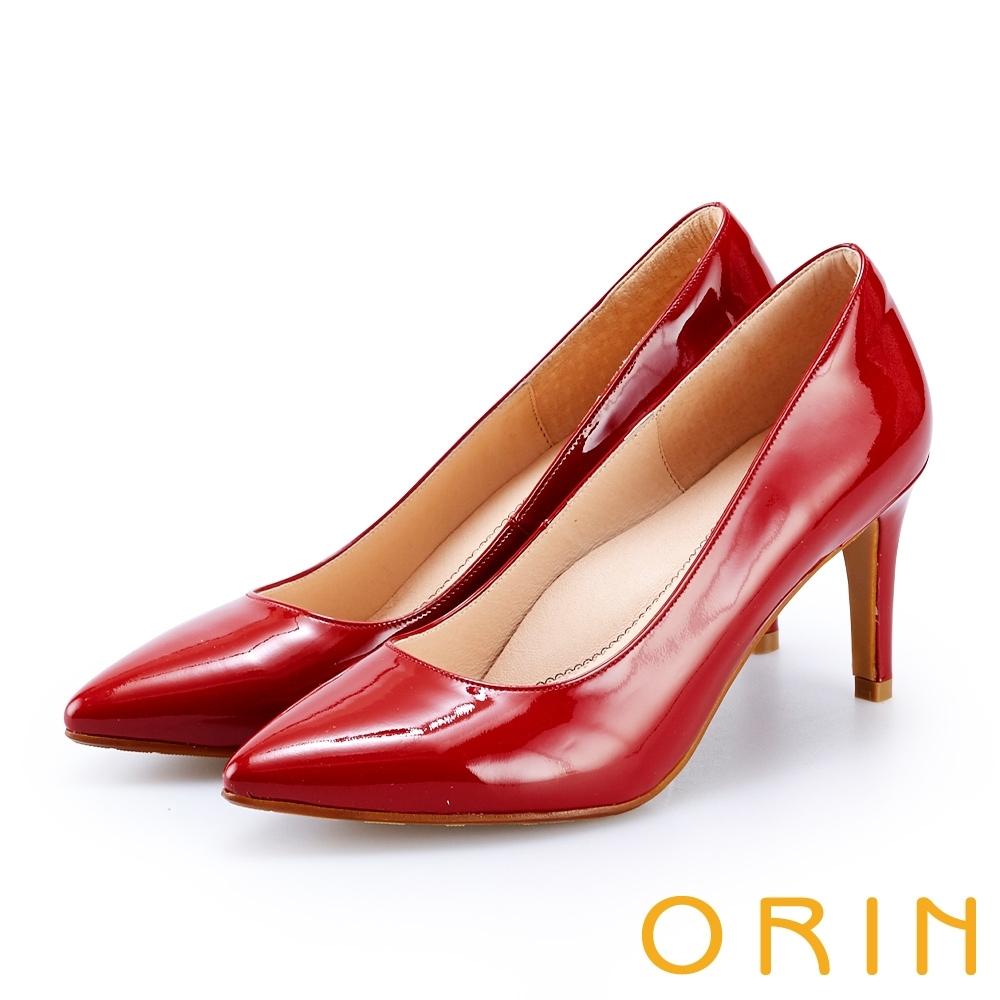 ORIN 氣質素面真皮尖頭高跟鞋 紅色