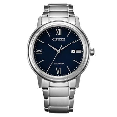 CITIZEN 星辰 PAIR光動能對錶羅馬數字鋼帶錶-男款藍面41.5mm(AW1670-82L)