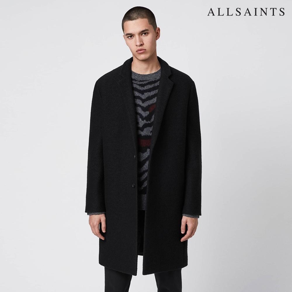 ALLSAINTS GRAFTON 保暖舒適極簡素面義大利羊毛大衣-黑