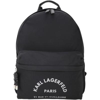 KARL LAGERFELD Rue St Guillaume 住址系列尼龍後背包(黑色)