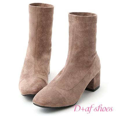 D-AF-時尚潮流-素面小方頭絨料中跟襪靴-灰