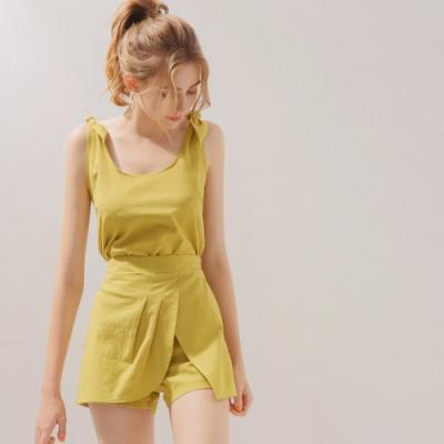 AIR SPACE 肩綁帶棉麻背心褲裙套裝(黃綠)