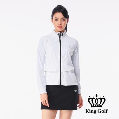 【KING GOLF】假兩件剪裁撞色拉鍊可收式連帽外套-白色