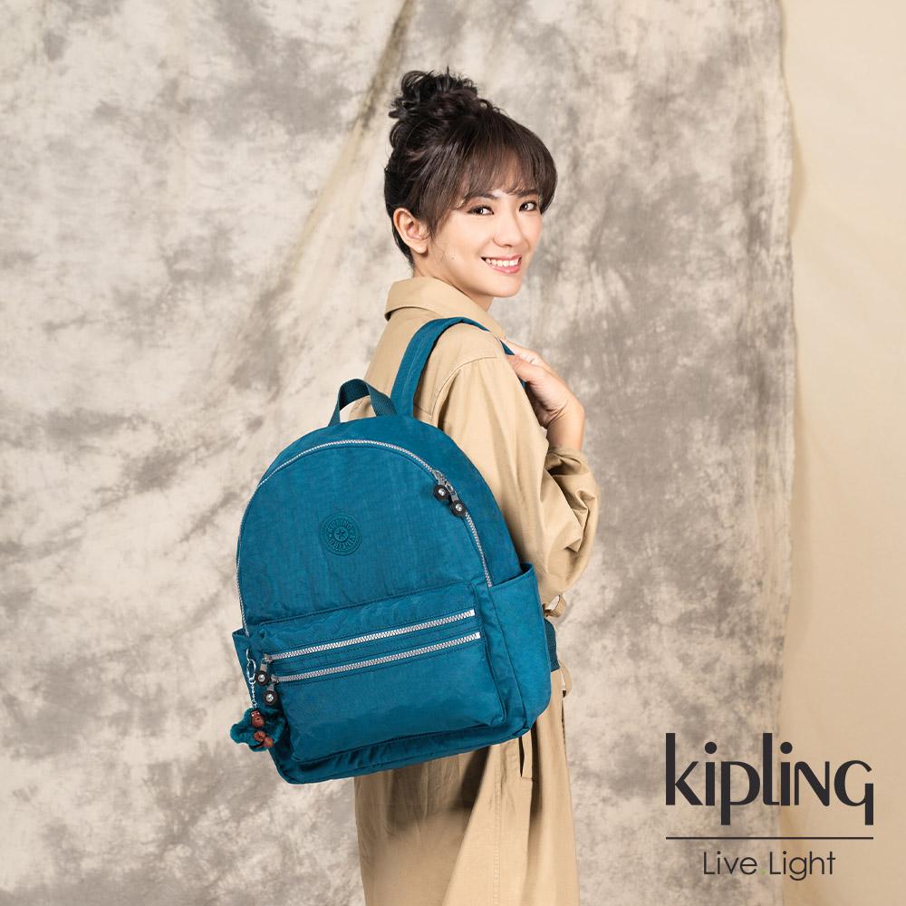 Kipling 復古翡翠藍拉鍊後背包-BOUREE