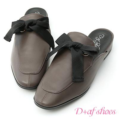 D+AF 甜美印象.緞帶蝴蝶結平底穆勒鞋*灰
