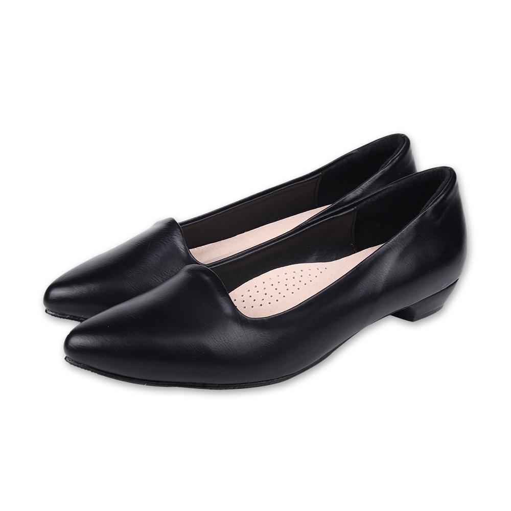 TTSNAP尖頭鞋-MIT羊紋後跟沙發真皮低跟鞋 黑