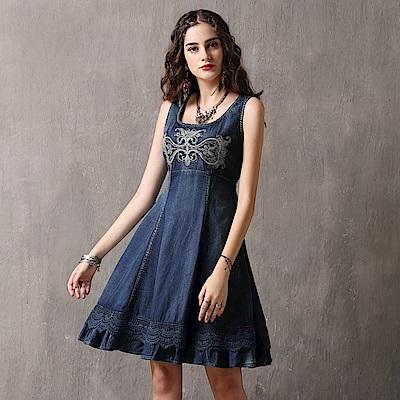 復古刺繡荷葉裙襬無袖牛仔連身裙S-L-維拉森林